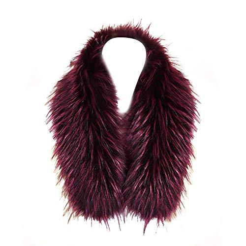 ihreesy - Collar de piel sintética desmontable para mujer, cuello desmontable de piel sintética con botones para abrigo, borde con capucha, 75 cm, color fucsia