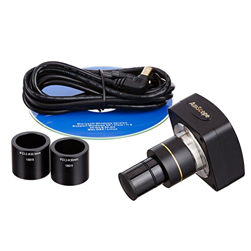 AmScope MU1000 10MP Digital Microscope Camera for Still and Video Images, 40x Magnification, 0.5x Reduction Lens, Eye Tube or C-Mount, USB 2.0 Output, Includes Software
