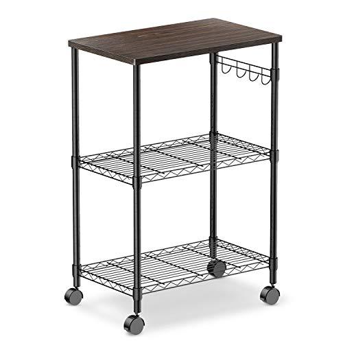 alvorog Microwave Cart on Wheels, 3-Tier Rolling Kitchen Cart Baker Rack with Adjustable Storage Shelves Utility Cart for Living Room, Dorm