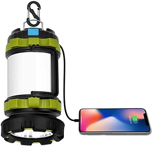 HEXL Linterna de Camping Recargable por USB, luz de Tienda LED portátil/Banco de energía, Linterna de luz de Alto Lumen, Equipo de Camping para Emergencia de huracán Linterna de luz Diaria