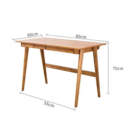 Tables FEI - Bureau d'ordinateur Bureau d'ordinateur de Bambou de Bureau en Bois Massif pour Tous Les postes de Travail (Taille : 80 * 60 * 75cm)