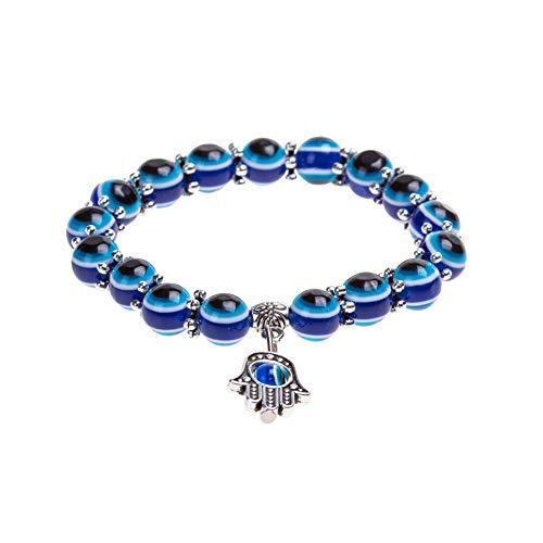 Hotaden Pulsera Pulsera del Encanto de los Ojos Azules Diseño cristalino de la Manera turca Ojo Suerte para Las Mujeres y los Hombres con Estilo único de la Cadena de Pulsera