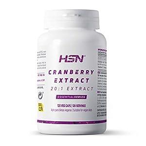 Arándano Rojo 500mg de HSN   Suministro para 4 Meses   Cranberry   Extracto 20:1 con 10% Proantocianidinas   Vegano, Sin Gluten, Sin Lactosa, 120 cápsulas vegetales
