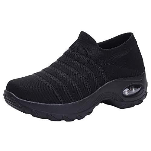 BRISEZZ Sneaker Sportschoenen dames, damesmode fitnessschoenen, slijtvaste dames wandelschoenen sokken sneakers mesh slip on lazy schoenen, turnschoenen om te lopen (zwart, groen, roze, geel, 36-41)