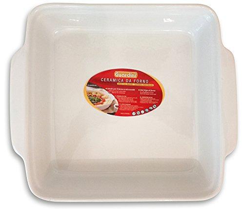 Guardini Ceramica, Plat carré moyen 25x22 cm, céramique, couleur blanche