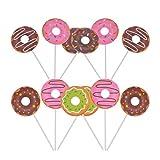 Toyvian 24 adornos para tartas de papel con forma de donut para cupcakes y cupcakes, ideal para fiestas de cumpleaños