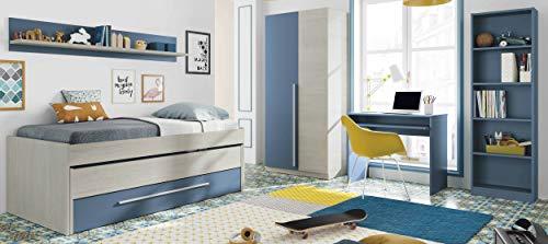 Miroytengo Pack mobiliario Dormitorio Juvenil Completo Color Azul habitación Infantil somieres incluidos (Cama + Estante + Armario + Mesa + estanteria)