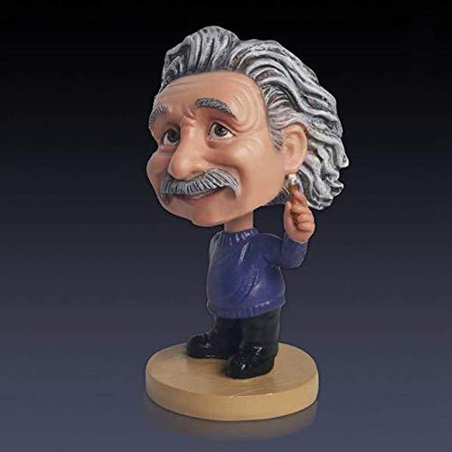 ZJN-JN Niedliche kreative Einstein-Skulptur, Wackelkopf-Skulptur, Kunstharz, für Auto, Schreibtisch, Dekoration, Ornament, Statue für Geburtstag, Erntedankfest, Geschenk, dekoratives Zubehör