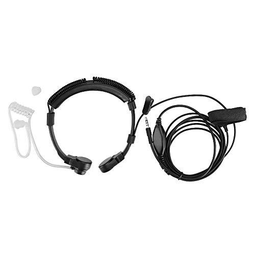 Vbestlife Auricular con micrófono para Garganta para teléfono móvil, PTT Resistente al Sudor de 3.5 mm Auricular con micrófono con Banda para el Cuello Extensible para convenciones, conciertos, etc.