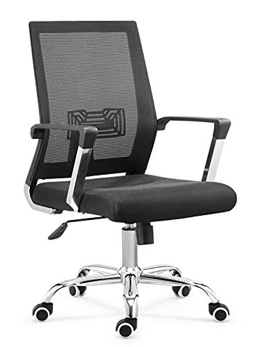 Office Chair Mix, 65 x 67 x 101-111 cm, negro, altura ajustable e giratoria, mecanismo de mariposa, con base cromada.