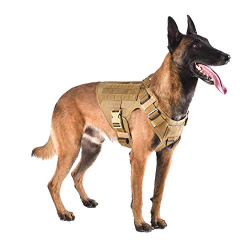 ICEFANG Lightweighting Tactical Dog Harness with Handle,Working Dog Training Molle Vest,No-Pull Front Leash Clip, Hook and Loop Panel for Dog ID Patch (L(Chest 28'-35'), Coyote Brown)