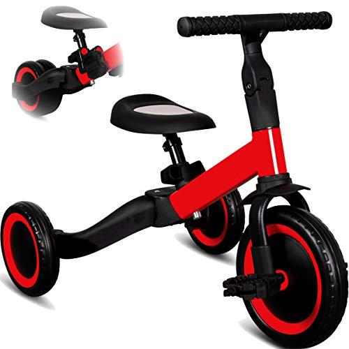Stimo 3IN1 umbaubares Laufrad Dreirad mit oder ohne Pedale Fahrrad für Kinder ab 12 Monaten (mitwachsend) (Rot)