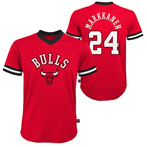 Chicago Bulls Youth Lauri Markkanen NBA Fashion V-Neck Jersey Top - Red #24, Youth Large