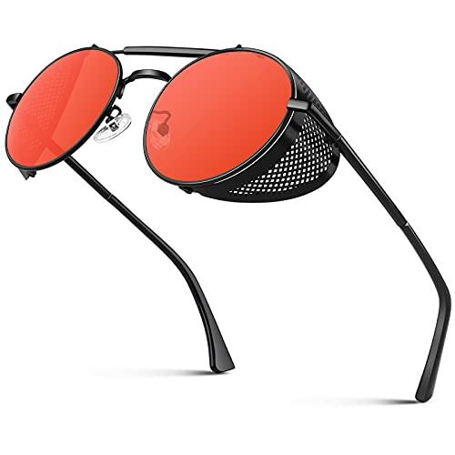 CGID E92 Steampunk estilo retro inspirado círculo metálico redondo gafas de sol polarizadas para hombre mujer Negro Rojo