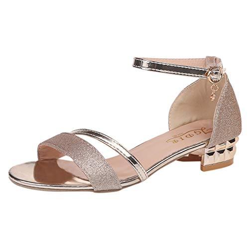 AIni Sandalias de Verano con Diamantes de ImitacióN para Mujer Zapatos de Vestir de Moda Sandalias Casuales con Hebilla Tacones de Talla Grande Oro, Plata 35-40 EU