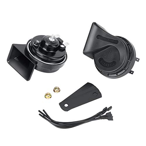 Snail Car Horn Waterproof 12V Loud Dual-Tone Electric Horn Kit Universal Fit,12v Auto Horn Kit High/Low Tone Black for Truck Car Motorcycle etc