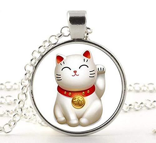 Halskette aus Glas mit Katzenmotiv
