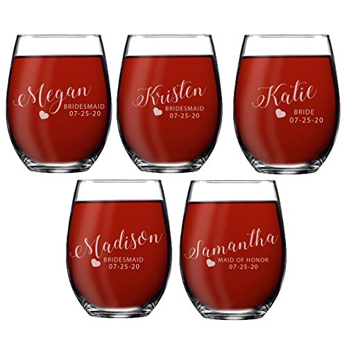 Set of 1, 2, 3, 4, 5, 6, 7, 8 Custom Engraved Bridesmaid Gifts - Personalized Stemless Wine Glasses - Passion Style (5)