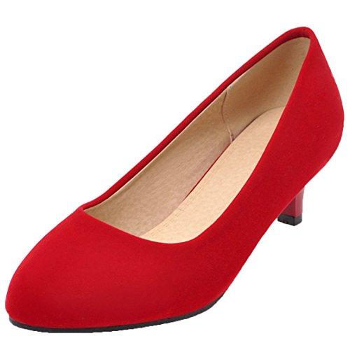 AIYOUMEI Damen Kitten Heel Pumps mit Pfennigabsatz High Heels Stiletto Schuhe Rot 41 EU