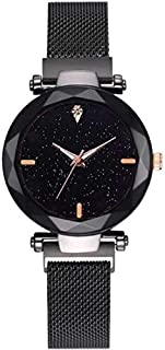 TIMESOON Casual Black Dial Magnet Strap Analog Watch for Girl & Woman's Watch