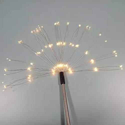 Ruby569y Luces navideñas, 2 luces LED de energía solar al aire libre, 8 modos de iluminación, lámpara de decoración de jardín, luz blanca cálida