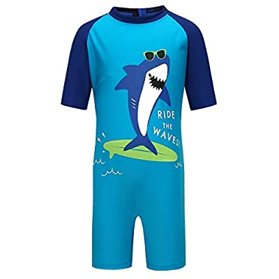 PHIBEE Boys' One Piece Rash Guard Swimsuit Short Sleeve UPF 50+ Sun Protection Bathing Suits Print1 6
