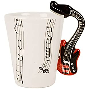 Guitar 8oz Electric Red Handmade Ceramic Coffee Mug (10cm x 8cm)