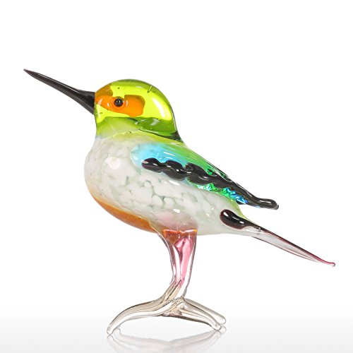 Tooarts Tiny Bird Glass Sculpture Ornament Bird Figurine Hand Blown Statue Multicolor