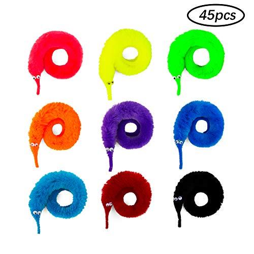 SAVITA 45stk Magic Twisty Worm Zauberwurm Trickspielzeug mit Unsichtbarer Schnur für Kinder Hunde Katze und Themenparty (9 Farben)