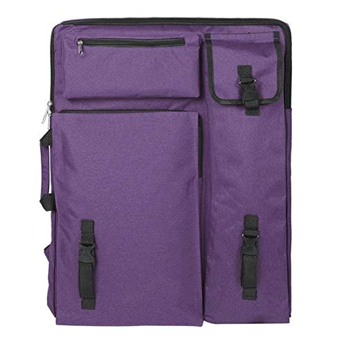 Art Portfolio Case Portable Drawing Board Bag Case with Handle Art Supply Carrying Bag Waterproof, 4K Painting Sketch Pad Storage Bag Tote Bag Art Backpack for Palette Paints Brushes Pencils (Purple)