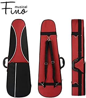 4/4 Full Size Violin Case,FINO Professional Triangular Shape Violin Hard Case,Super Lightweight Portable Carrying Bag Slip-On Cover with Backpack Straps,Red and Grey