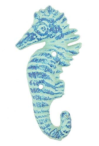 "Cast Iron Wall Hook Blue Seahorse Design 5.5"" Tall"