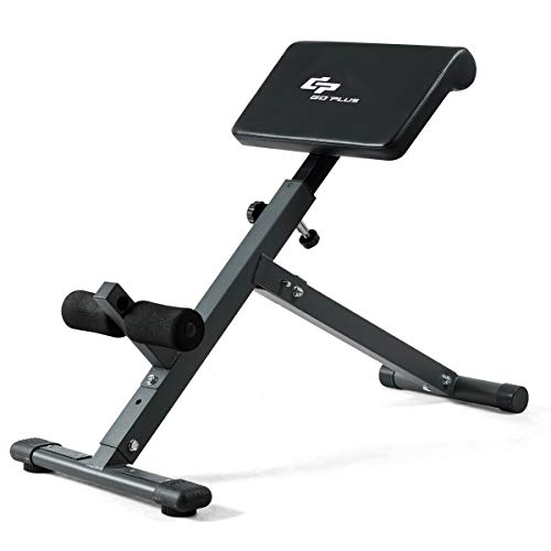 Goplus Adjustable Roman Chair, Foldable Abdominal Exercise Bench Back Hyperextension Bench