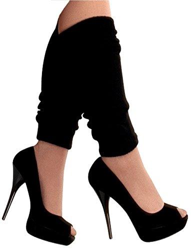 krautwear Damen Beinwärmer Stulpen Legwarmers Overknees gestrickte Strümpfe 80er Jahre 1980er Jahre, 1xschwarz, Einheitsgröße