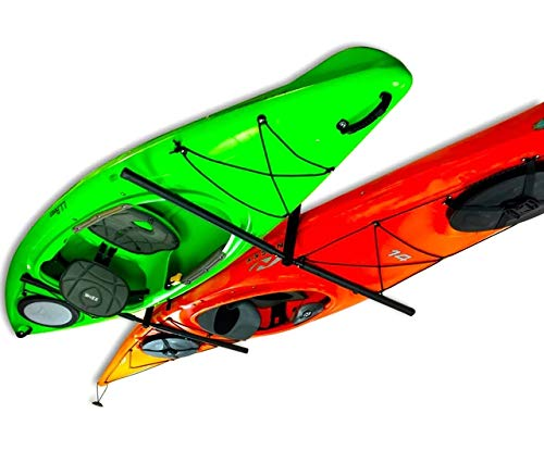 StoreYourBoard 2 Kayak Ceiling Rack, Hi Port 2 Storage Hanger Overhead Mount, Adjustable, Standard 25 Inch Arms