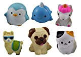Set of Slow Rise Animal Pencil Topper Squishies - Soft Scented Cute - Office School- Fun Squishy Office School Fidget Pens - Anxiety ADHD - Gift (6)