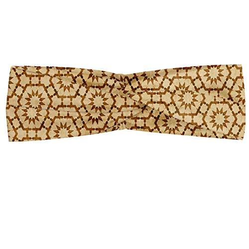 ABAKUHAUS Jahrgang Halstuch Bandana Kopftuch, Inspiriert maurische geometrisches Muster Hexagon Fliesen In Kombination mit Stern Forms, Elastisch und Angenehme alltags accessories, Beige und Karamell