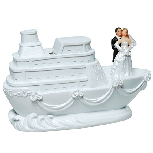 Spardose Hochzeit Brautpaar auf Schiff Sparschwein Figur Flitterwochen