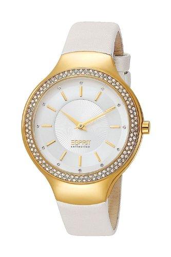 ESPRIT Damen Analog Quarz Uhr mit Leder Armband EL101542F03_Gold