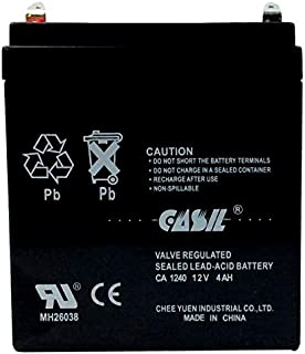 Casil Genuine CA1240 12v 4ah SLA Rechargeable Alarm Battery for ADI Ademco 467, ADT 804302 12v 4.5ah, DSC Security Panel, Power Patrol for SLA1056, Vista 20P ADT, Replacement Battery by Inovel Power