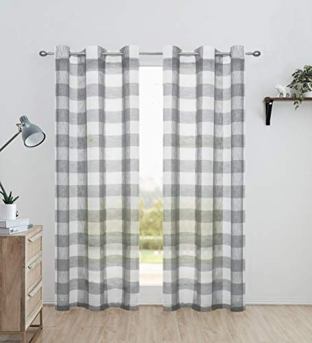 "Ronaldecor Gingham Plaid Buffalo Checkered Sheer Window Curtain Panels, Basic Grommet Top Treatment, for Bedroom & Living Room, 2 Panels,40""x63"", Gray"
