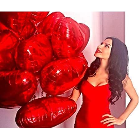 My Party Store Dot Com Red Heart Shape Foil Balloons (Size 18 Inches Each) for All Kind of Party Decoration (RED Heart FOIL Balloons)