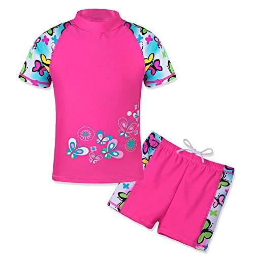 QPM Print Meisjes Badmode Korte Mouw Kids Badpak Tieners Rash Guards Set Zwemmen voor Kinderen 3-12 Jaar