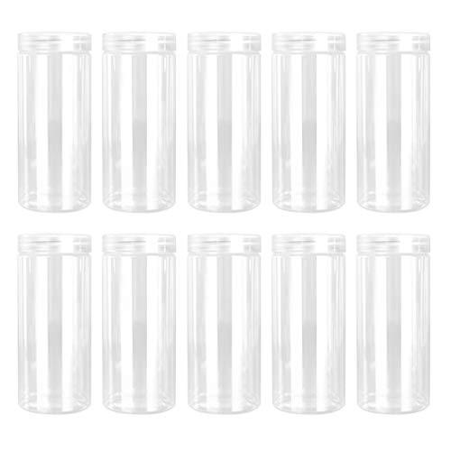 KESYOO 10 Piezas 330 Ml Botellas de Almacenamiento de Plástico Transparente Botellas de Bajo Perfil Recargables Transparentes Recipientes de Plástico de Boca Ancha para Uso Diario