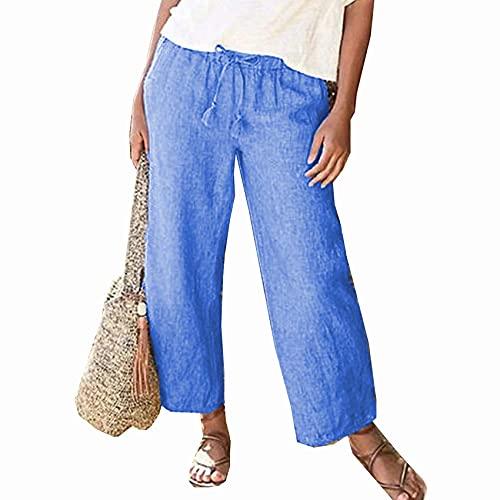 WJANYHN Casual dames effen kleur rechte been katoen en linnen trekkoord losse wijde pijpen broek - blauw - 5XL