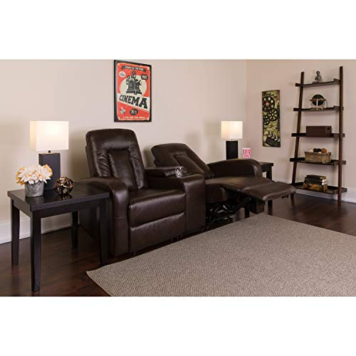 Flash Furniture Eclipse Series 2-Seat Reclining Brown Leather Theater Seating Unit with Cup Holders