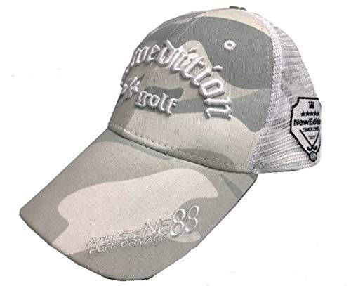 【NewEdition GOLFR】ニューエディションゴルフ・カモフラージュ柄 カモ柄 3D刺繍アスリート ワッペン キャップ サンバイザー メッシュ ゴルフ 帽子 フリーサイズ NEG-299 (メッシュ・ホワイトカモ)
