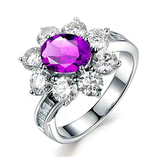 Bishilin Anillos de Promesa Plata de Ley S925 Anillo de Mujer Clásico Moderno Forma de Flor Púrpura Oval Cristal Piedra Natal de Febrero Anillo de Eternidad Aniversario Boda Plata Talla: 16