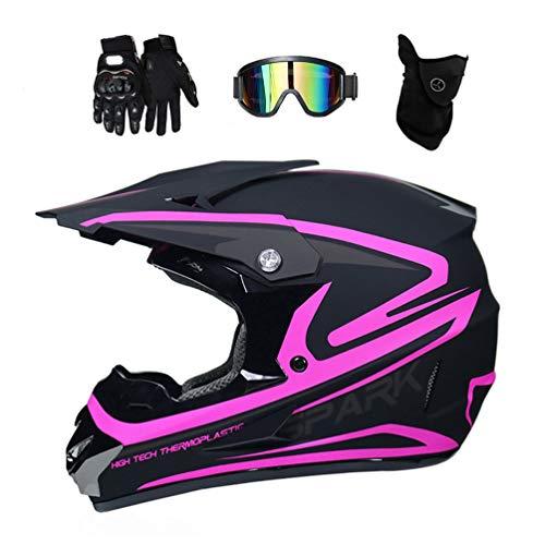 Fullface Motocross Helm Set mit Brille Handschuhe Maske, Motorrad Crosshelm Pocket Bike Helm Kinder Erwachsener Motorradhelm für MTB Enduro ATV Downhill Sicherheit Schutz, Schwarz und Pink,XL