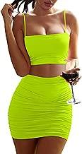 BEAGIMEG Women's Ruched Cami Crop Top Bodycon Skirt 2 Piece Outfits Dress Fluogreen